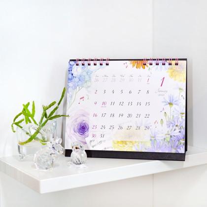 CAL−068  2022年版カレンダー 卓上1ヶ月 モダンフラワー S