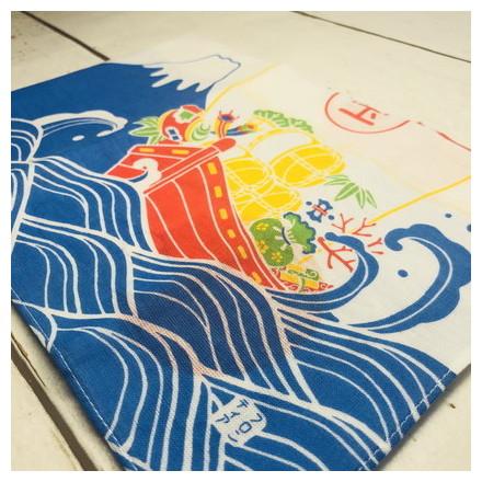 HKC−005木綿はんかち 富士山と宝船と鯛