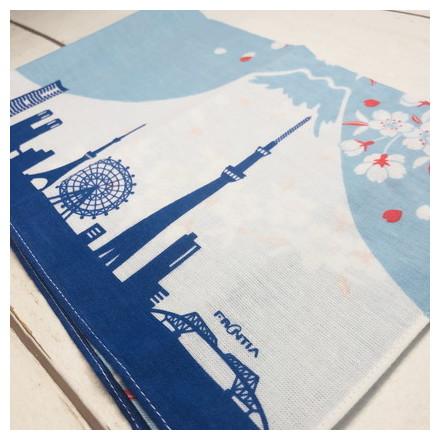 HKC−006木綿はんかち 富士山と桜
