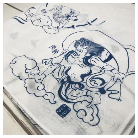 HKC−009木綿はんかち 風神雷神
