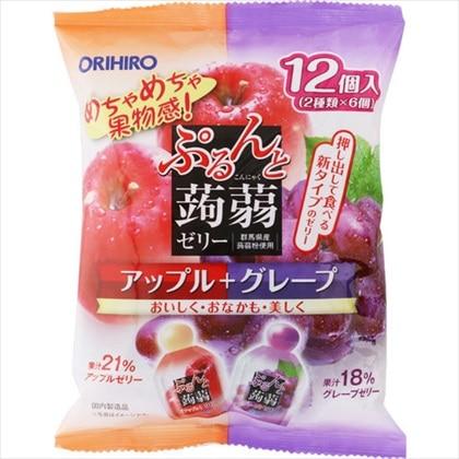 ぷるんと蒟蒻ゼリーパウチ アップル+グレープ 240g(20g×12個)