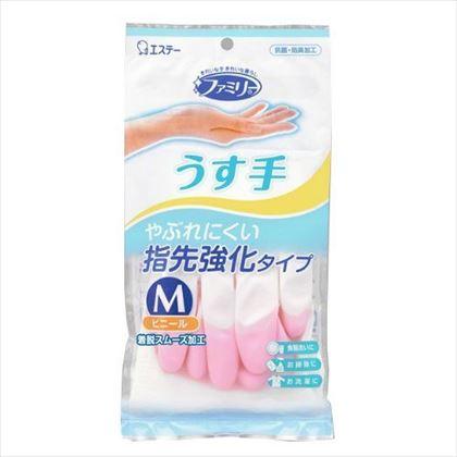 エステー ファミリー ビニール うす手 指先強化 ピンク Mサイズ