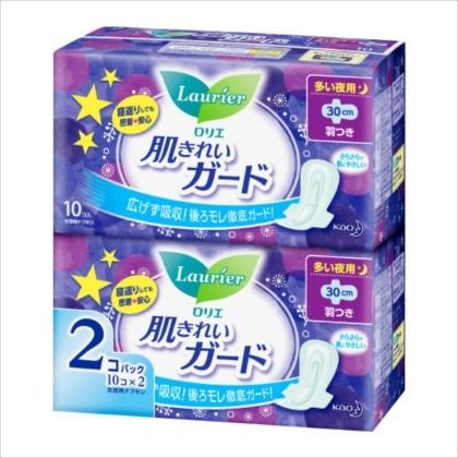 花王 ロリエ 肌キレイガードオーバーナイト 羽つき 10コ入×2[医薬部外品]