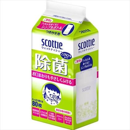 スコッティ ウェットティシュー 除菌 ノンアルコールタイプ つめかえ用 80枚