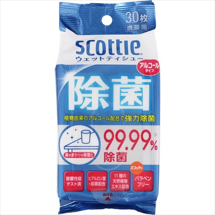 スコッティ ウェットティシュー 除菌 アルコールタイプ 30枚