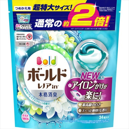 ボールド ジェルボール3D 爽やかプレミアムクリーンの香り つめかえ用 超特大サイズ 34個