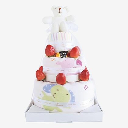 プラットデコレーションケーキ3段
