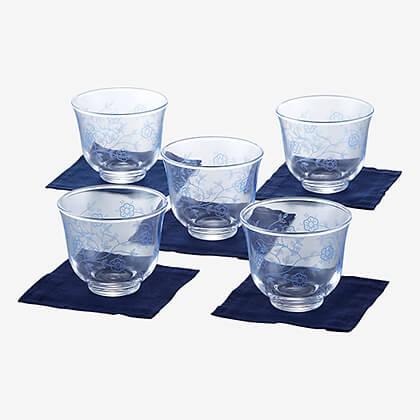 更紗玻璃 冷茶グラス5客揃