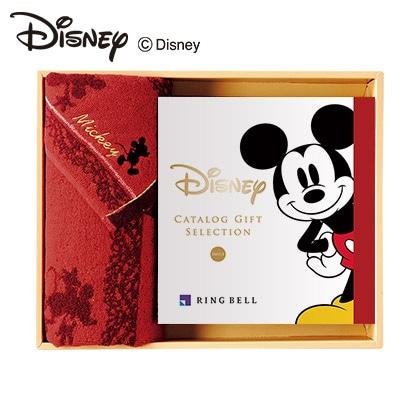 ディズニーカタログギフトセレクション スマイル コース+フェイスタオルセット(レッド) 写真入りメッセージカード(有料)込