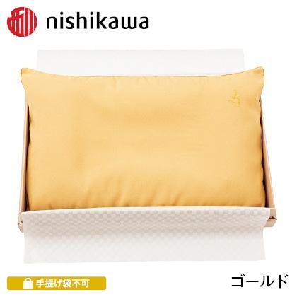 西川 お祝い枕 ゴールド 写真入りメッセージカード(有料)込