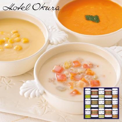 ホテルオークラ スープ・調理缶詰15個詰合せ 写真入りメッセージカード(有料)込