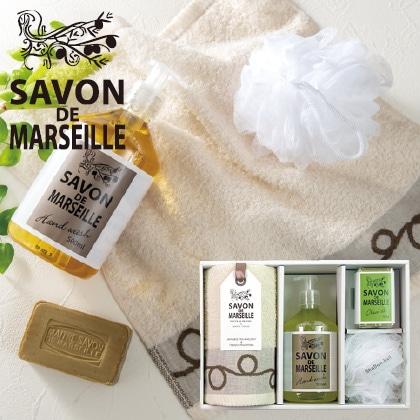 サボンドマルセイユ 石鹸タオルセットB 写真入りメッセージカード(有料)込
