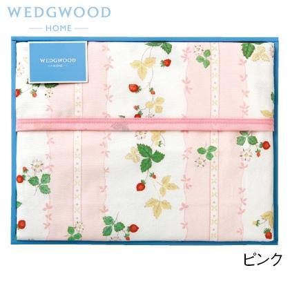 ウェッジウッド 綿毛布(毛羽部分) ピンク 写真入りメッセージカード(有料)込