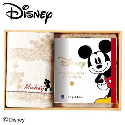 ディズニーカタログギフトセレクション スマイル コース+バスタオルセット(アイボリー) 写真入りメッセージカード(有料)込