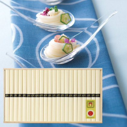 三輪素麺(鳥居帯)C  写真入りメッセージカード(有料)込