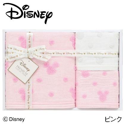 ディズニー ガーゼタオルセットA  ピンク  写真入りメッセージカード(有料)込