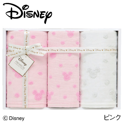 ディズニー ガーゼタオルセットB ピンク  写真入りメッセージカード(有料)込