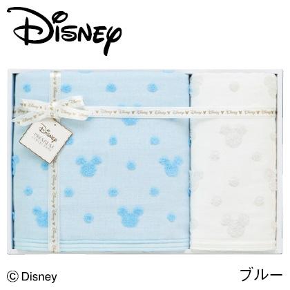 ディズニー ガーゼタオルセットC ブルー  写真入りメッセージカード(有料)込
