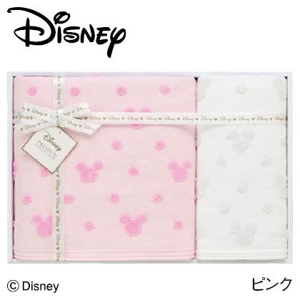 ディズニー ガーゼタオルセットC ピンク  写真入りメッセージカード(有料)込