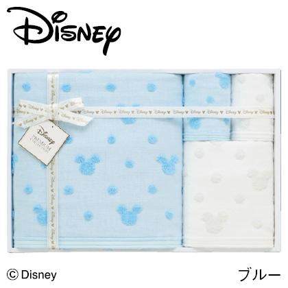 ディズニー ガーゼタオルセットD ブルー  写真入りメッセージカード(有料)込