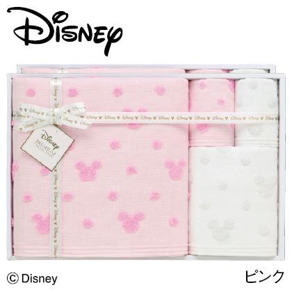ディズニー ガーゼタオルセットD ピンク  写真入りメッセージカード(有料)込