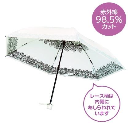 〈プレミアムホワイト〉晴雨兼用傘 レース柄(ブラック)