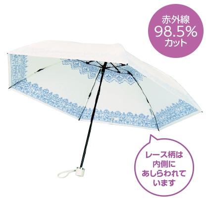 〈プレミアムホワイト〉晴雨兼用傘 レース柄(ブルー)