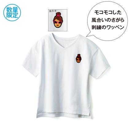 ワッペン付き半袖Tシャツ(ホワイト 女の子)
