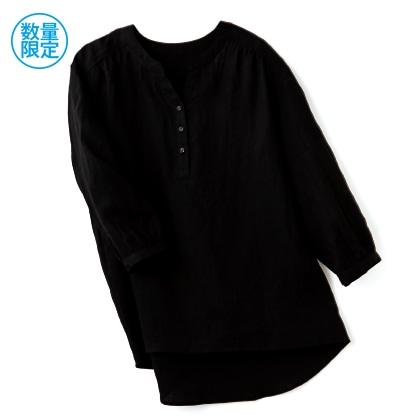 フレンチリネン100%七分袖ブラウス(ブラック/LL)