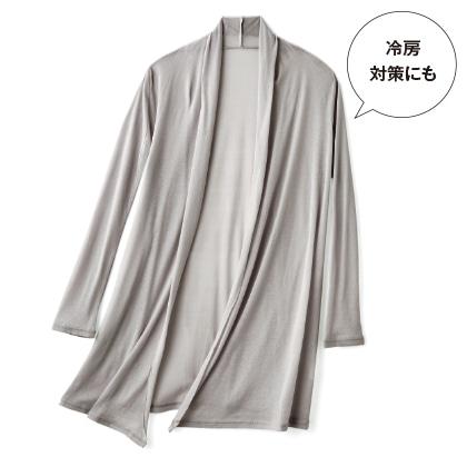 〈天使の綿シフォン(R)〉トッパーカーディガン(フロストシルバー/L)