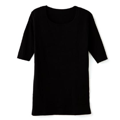 〈天使の綿シフォン(R)〉丸首5分袖プルオーバー(ブラック/M)