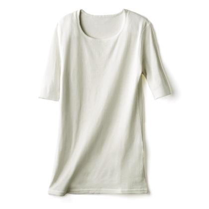 〈天使の綿シフォン(R)〉丸首5分袖プルオーバー(ミルク/L)