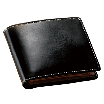 〈British Green〉ブライドルレザー二つ折財布(ブラック)