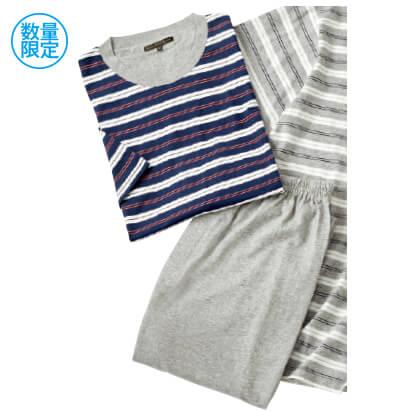 紳士半袖丸首Tシャツパジャマ(ネイビー/L)