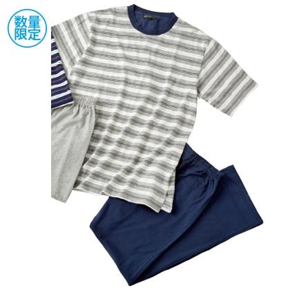 紳士半袖丸首Tシャツパジャマ(グレー/L)