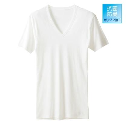 〈アサメリーフィール〉メンズ VネックTシャツ(同色同サイズ2枚セット)ホワイト/M