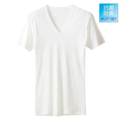 〈アサメリーフィール〉メンズ VネックTシャツ(同色同サイズ2枚セット)ホワイト/LL