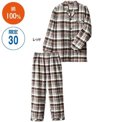 紳士ネルチェックテーラードパジャマ(レッド・L)