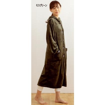 〈mofua〉プレミマムマイクロファイバー着る毛布 フード付(ルームウェアタイプ)モスグリーン