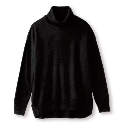 アルパカ100%タートルネックプルオーバー(ブラック LL)