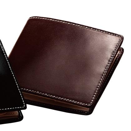 〈British Green〉ブライドルレザー二つ折財布(バーガンディ)