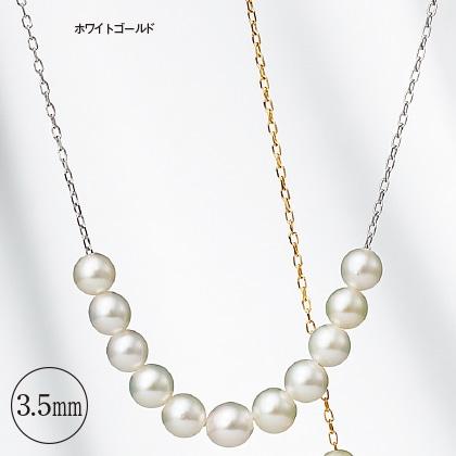 K18アコヤベビーパールスルーネックレス(45cm)ホワイトゴールド