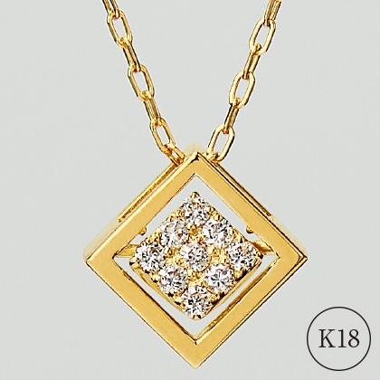 K18ダイヤモンド入スウィングスクエアペンダント(45cm)