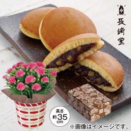 ピンクのカーネーション&長崎堂 栗入りみかさ
