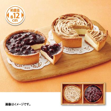 国産ブルーベリーとモンブランのチーズケーキ