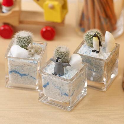 植物と一緒に楽しむジオラマ「南極のペンギン達」ミニ3個入