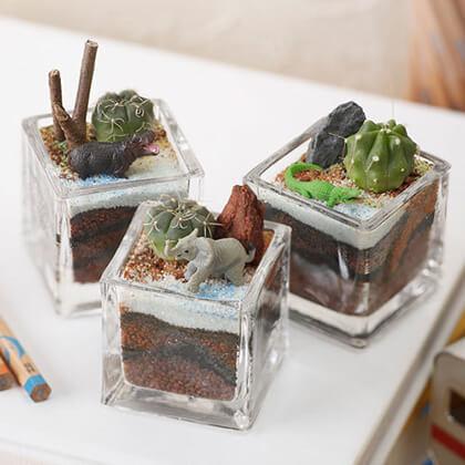 植物と一緒に楽しむジオラマ「ナイルのゾウ達」ミニ3個入