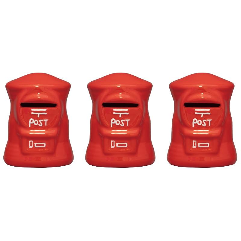 ポスト型貯金箱ミニミニ定番郵便色3セット(赤x3)