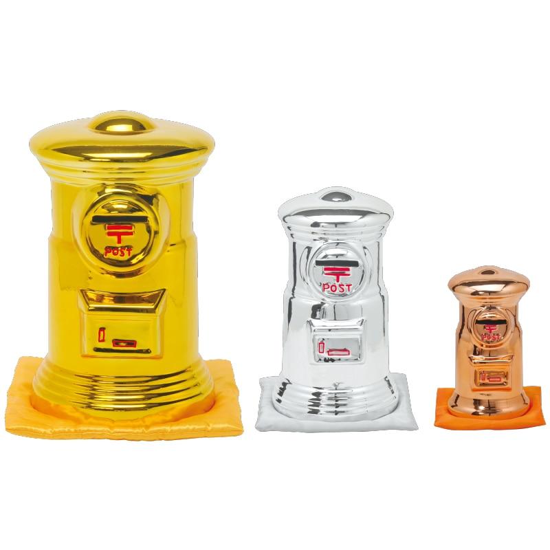 ポスト型貯金箱(座布団付き)金銀銅セット BIG3