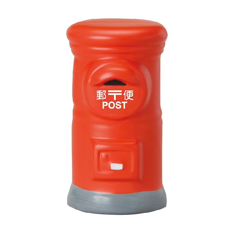 郵便差出箱一号丸型貯金箱(座布団付き) 赤色
